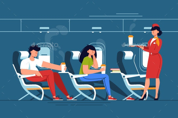 Man and Woman with Stewardess Relaxing - Man-made Objects Objects