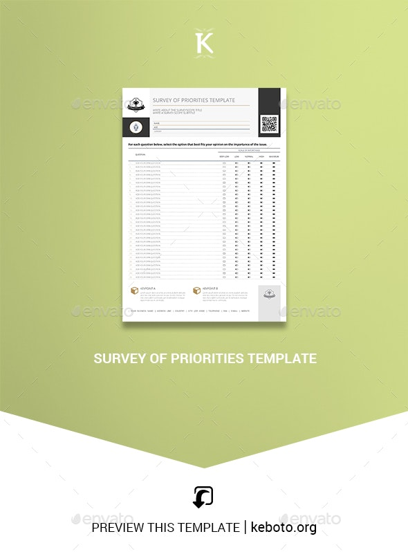 Survey of Priorities Template - Miscellaneous Print Templates