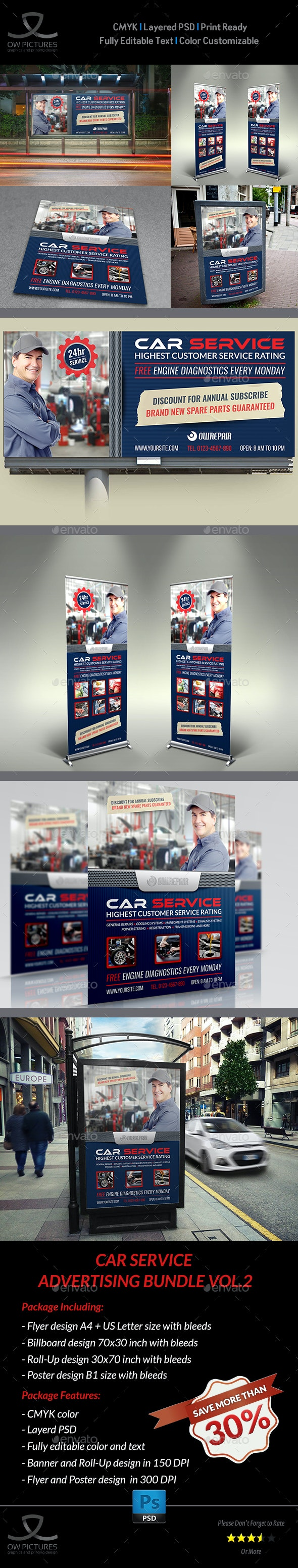 Car Service Advertising Bundle Vol.2 - Signage Print Templates