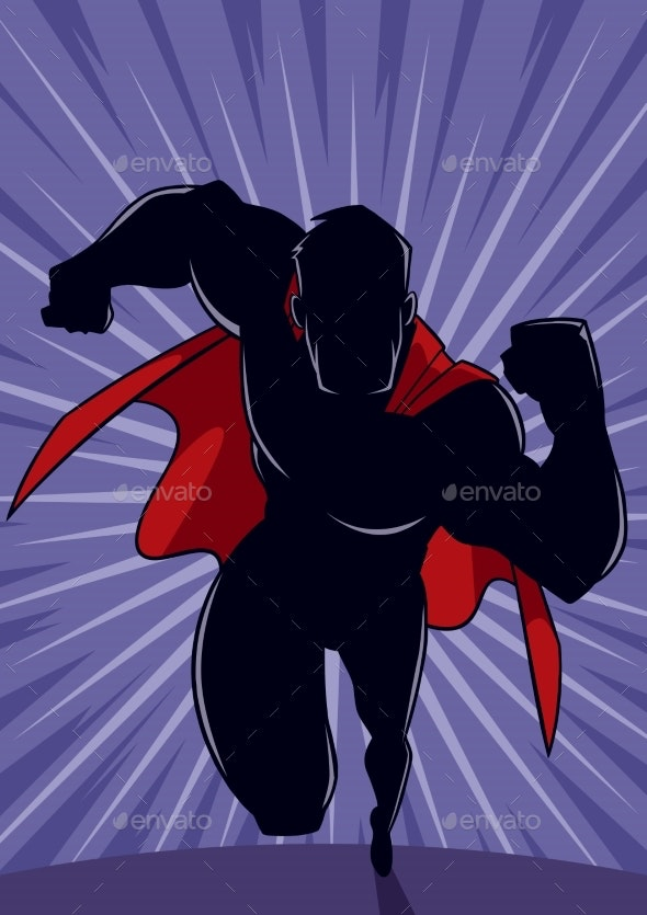 Superhero Running Abstract Background Silhouette - People Characters