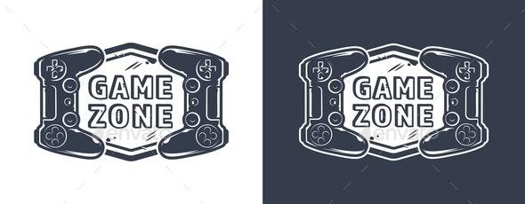 Vintage Monochrome Game Zone Emblem - Decorative Symbols Decorative