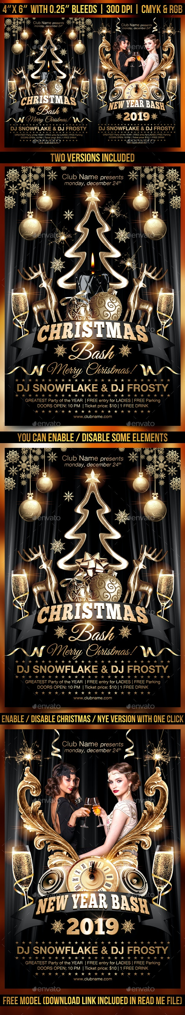Christmas and New Year Flyer Template - Holidays Events