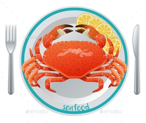 Cartoon Seafood Meal Concept - Animals Characters