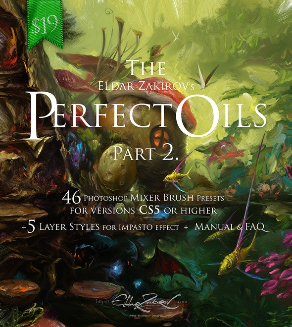 """The Perfect Oils. Part 2. 46 Mixer Brush Presets for Photoshop CS5+ and 5 """"Impasto"""" Layer Styles - Artistic Brushes"""