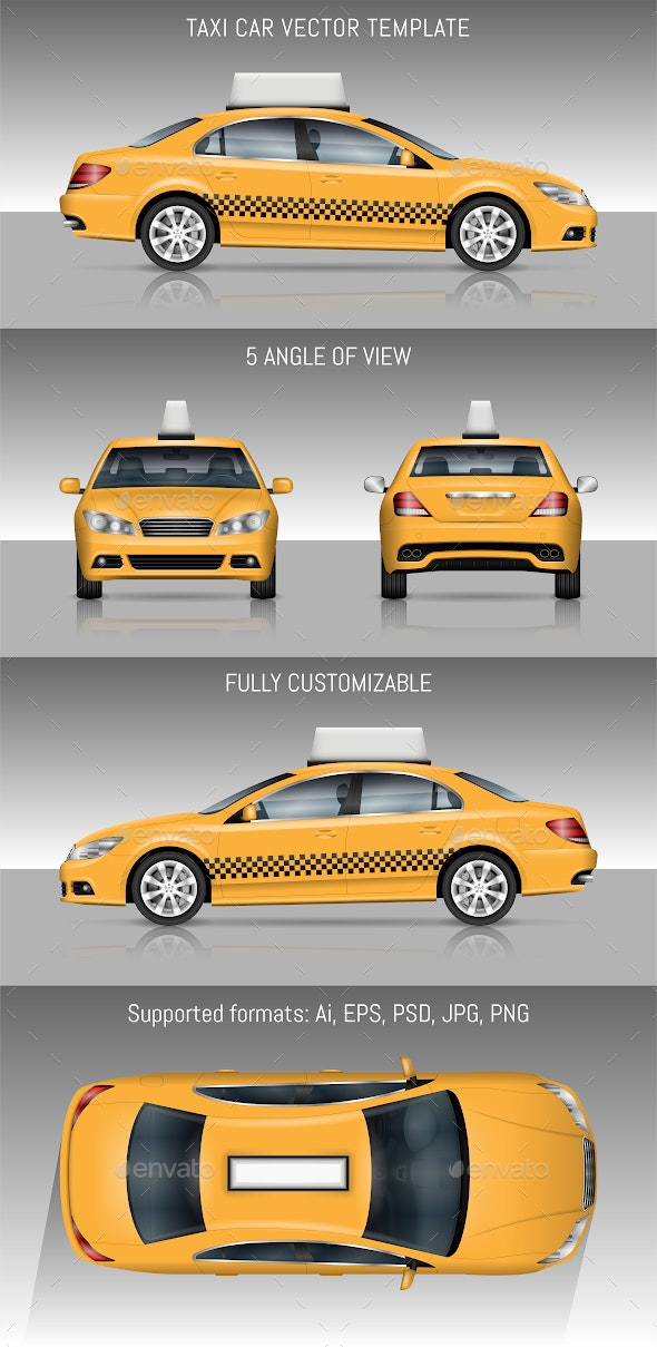Yellow Taxi Car - Man-made Objects Objects
