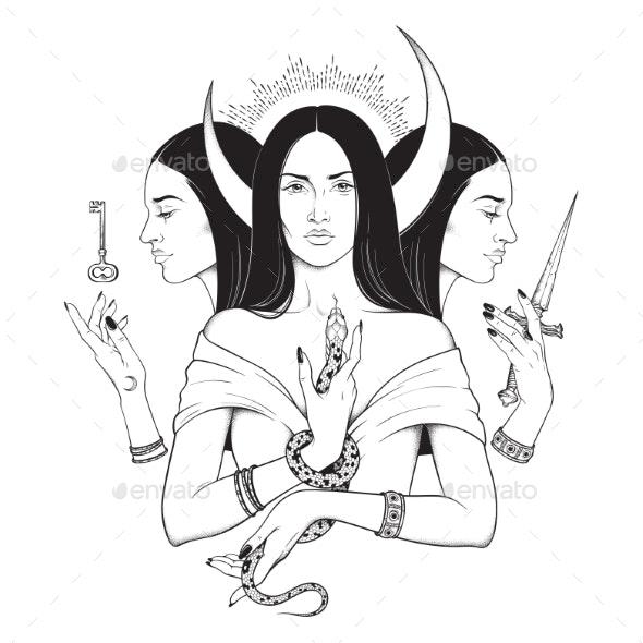 Lunar Goddess Hecate - Religion Conceptual