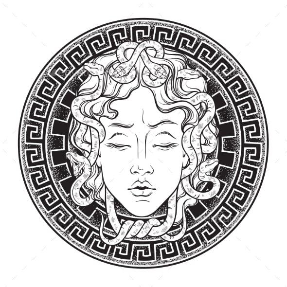 Medusa Gorgon Head on a Shield