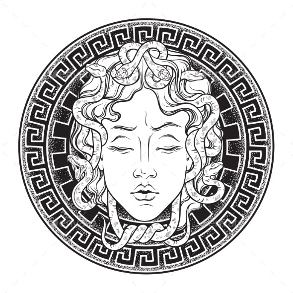 Medusa Gorgon Head on a Shield - Miscellaneous Characters