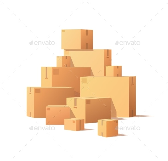 Pile Parcel Cardboard Boxes Stacked Sealed Goods - Miscellaneous Vectors