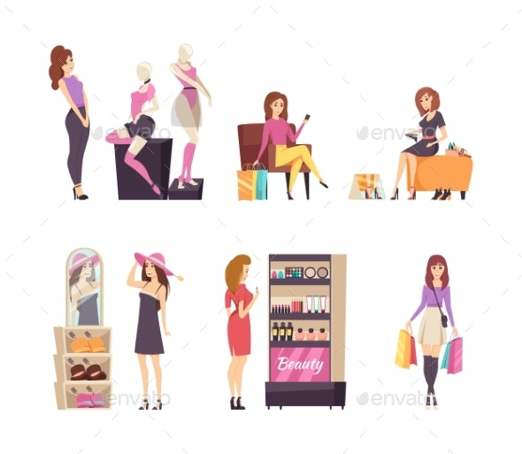 Woman Looking at Mannequins and Clothes Set Vector - People Characters