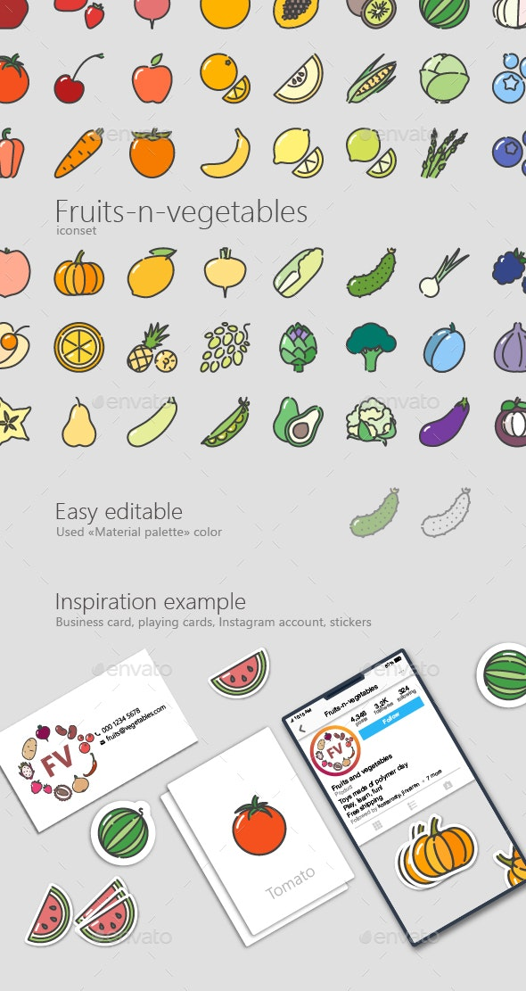 Fruits-n-Vegetables Colored Outline Icons - Food Objects