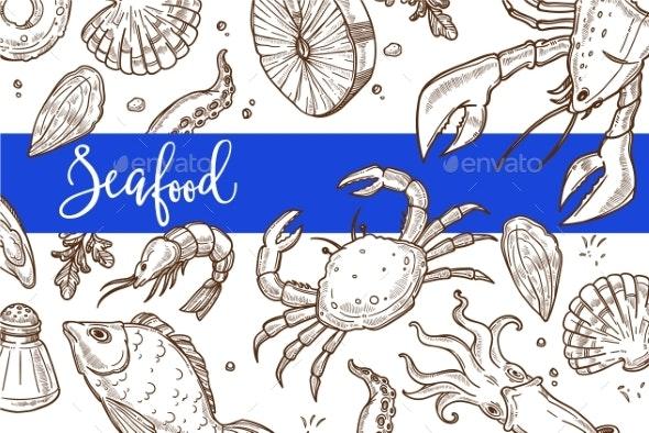 Seafood Restaurant Sketch Poster for Menu - Miscellaneous Vectors