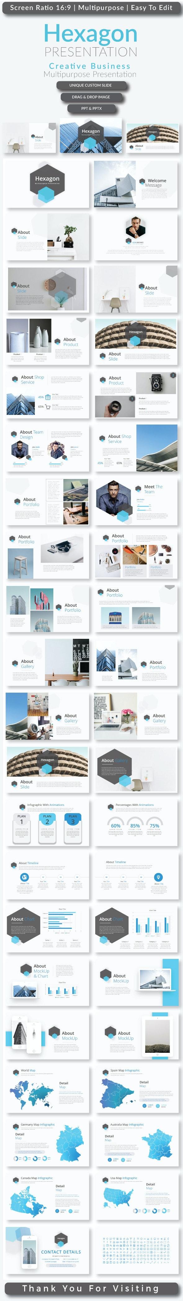Hexagon Presentation Templates - Creative PowerPoint Templates