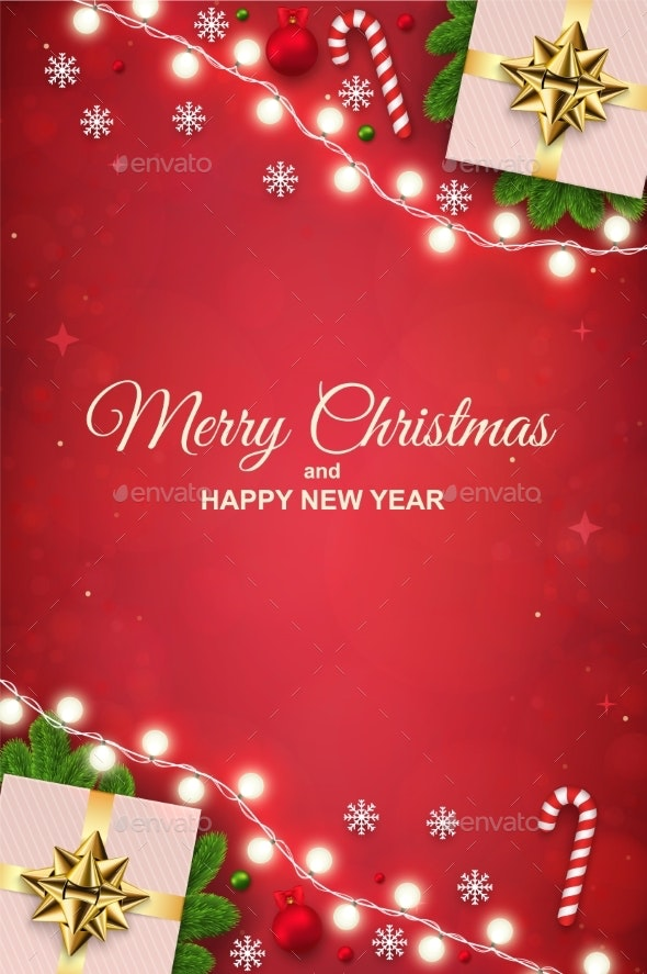Merry Christmas Background with Luminous Garlands - Christmas Seasons/Holidays