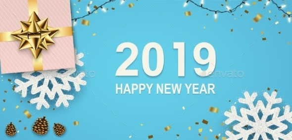 New Year Banner with Sparkling Garlands - New Year Seasons/Holidays
