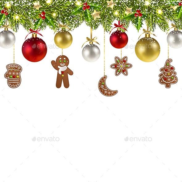 Christmas Banner with Christmas Gingerbread - Christmas Seasons/Holidays