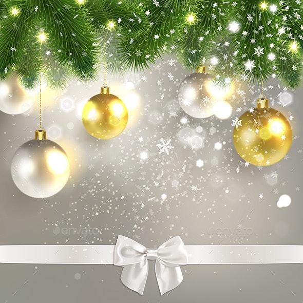 Christmas Congratulatory Background with Christmas Balls - Christmas Seasons/Holidays