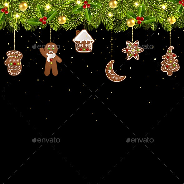 Christmas Tree Garland with Christmas Gingerbread - Christmas Seasons/Holidays