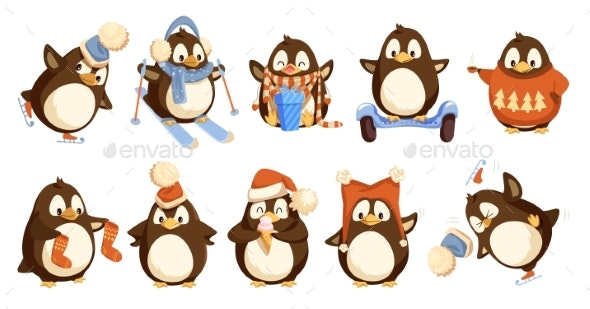 Penguins Wearing Winter Warm Clothes Set Vector - Animals Characters