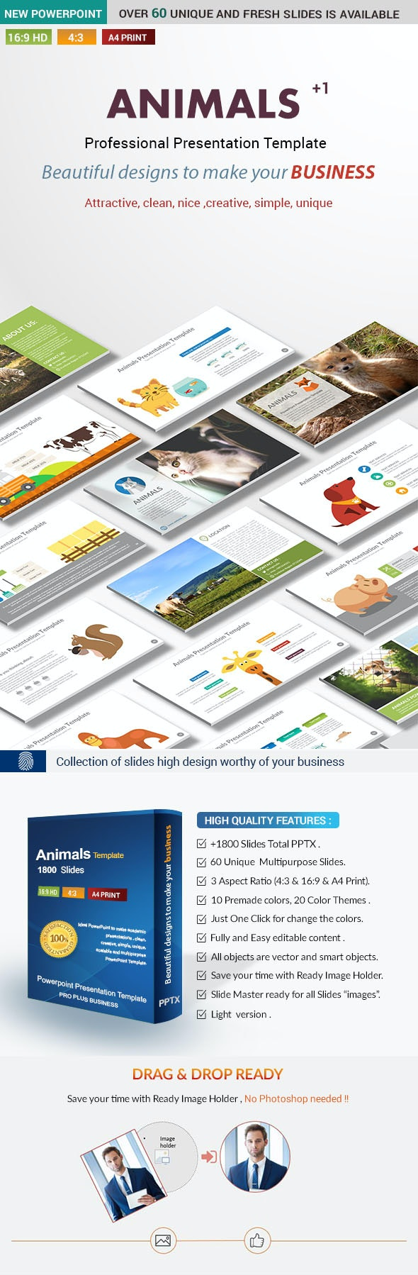 Animals PowerPoint Presentation Template - Nature PowerPoint Templates