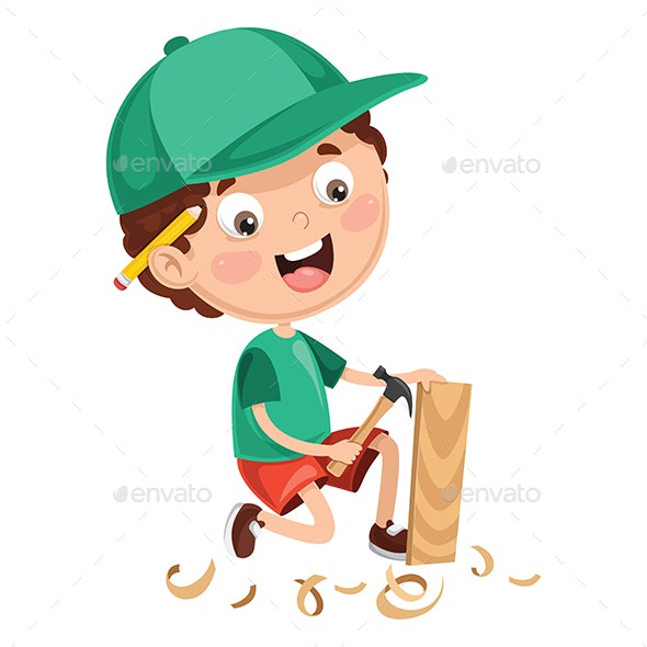 Vector Illustration of Kid Working - People Characters