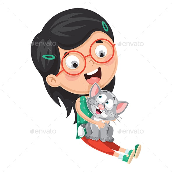 Vector Illustration of Kid Playing With Cat - People Characters