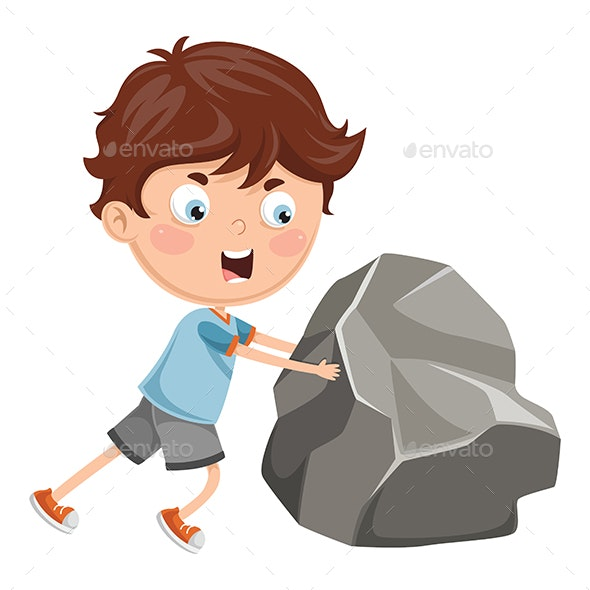 Vector Illustration Of Kid Pushing - People Characters