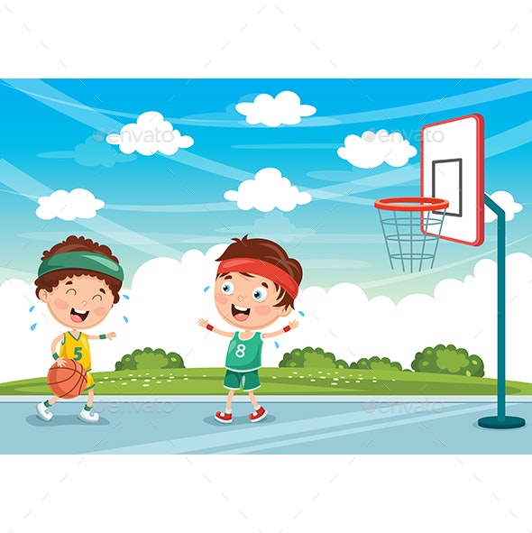Vector Illustration of Kids Playing Basketball - People Characters