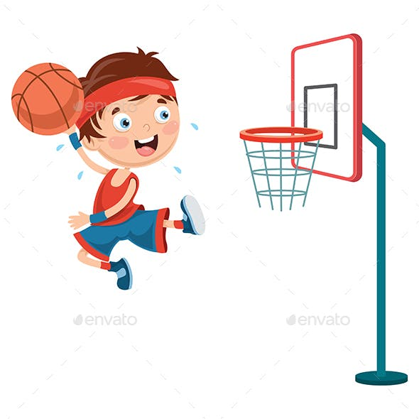 Vector Illustration of Kid Playing Basketball