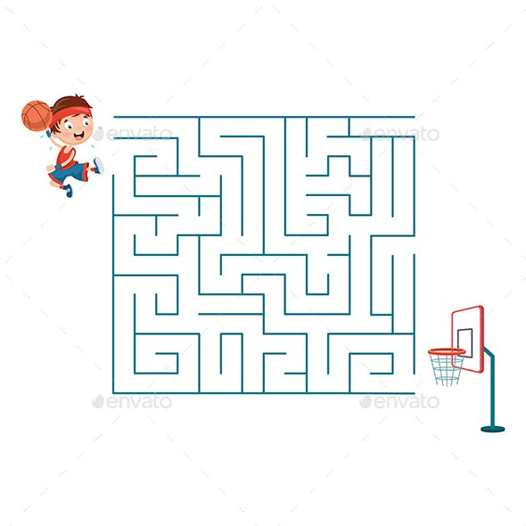 Vector Illustration of Kid Playing Basketball Maze