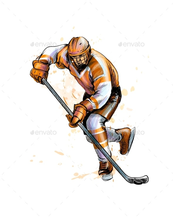 Abstract Hockey Player - Sports/Activity Conceptual