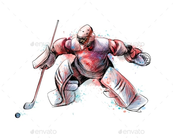 Abstract Hockey Goalkeeper - Sports/Activity Conceptual