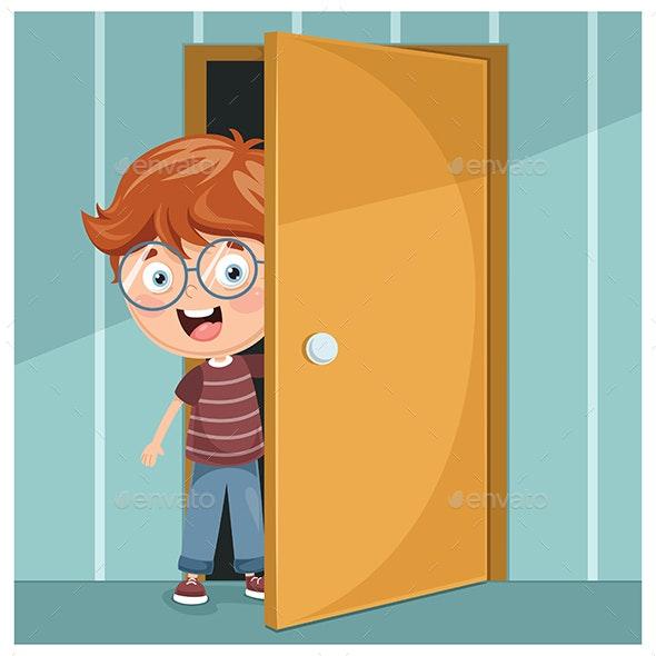Vector Illustration of Kid Opening The Door - People Characters