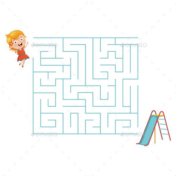 Vector Illustration of Kid and Slide Maze - People Characters