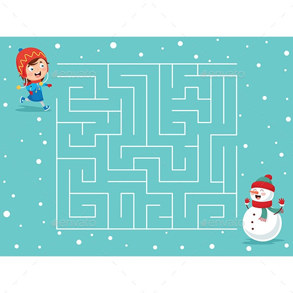 Vector Illustration of Winter Maze - People Characters