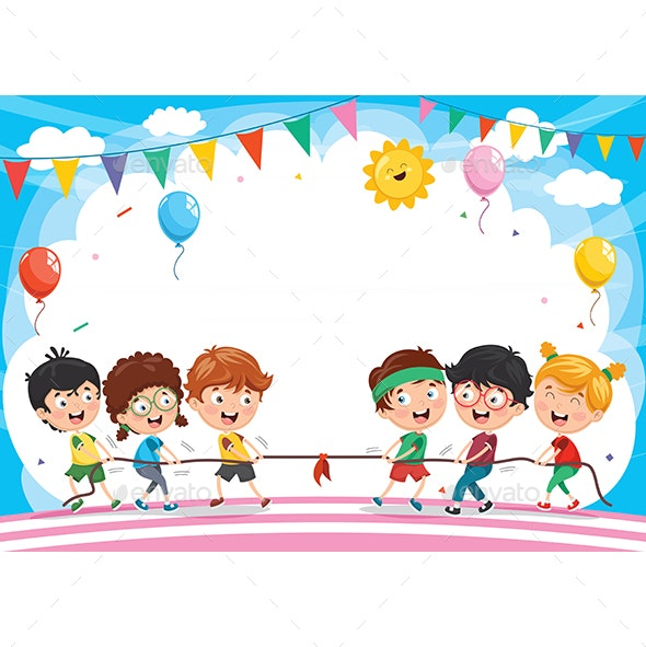 Vector Illustration of Kids Playing Pulling Rope - People Characters