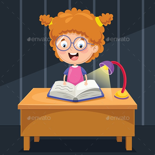 Vector Illustration of Kid Studying at Night - People Characters