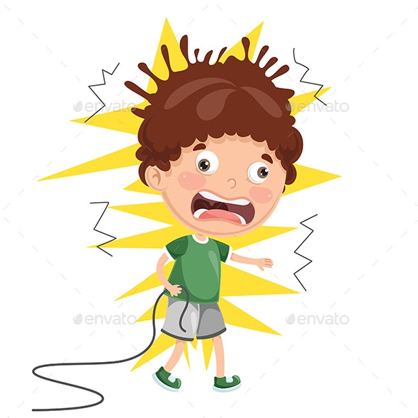 Vector Illustration of Kid With Electric Shock - People Characters