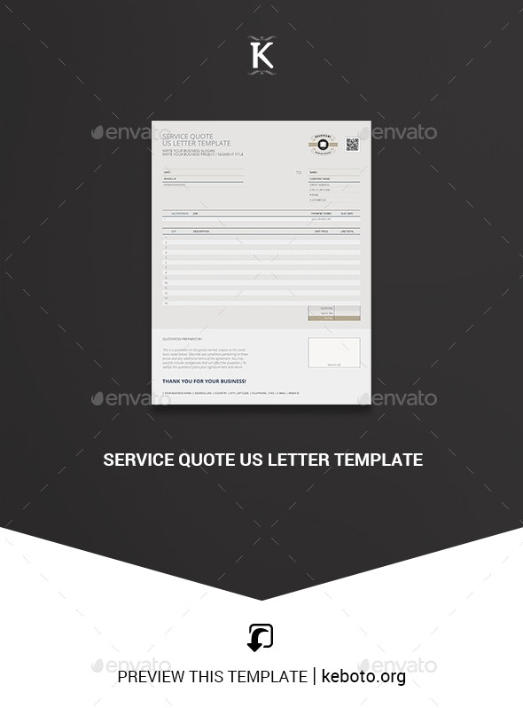 Service Quote US Letter Template - Miscellaneous Print Templates