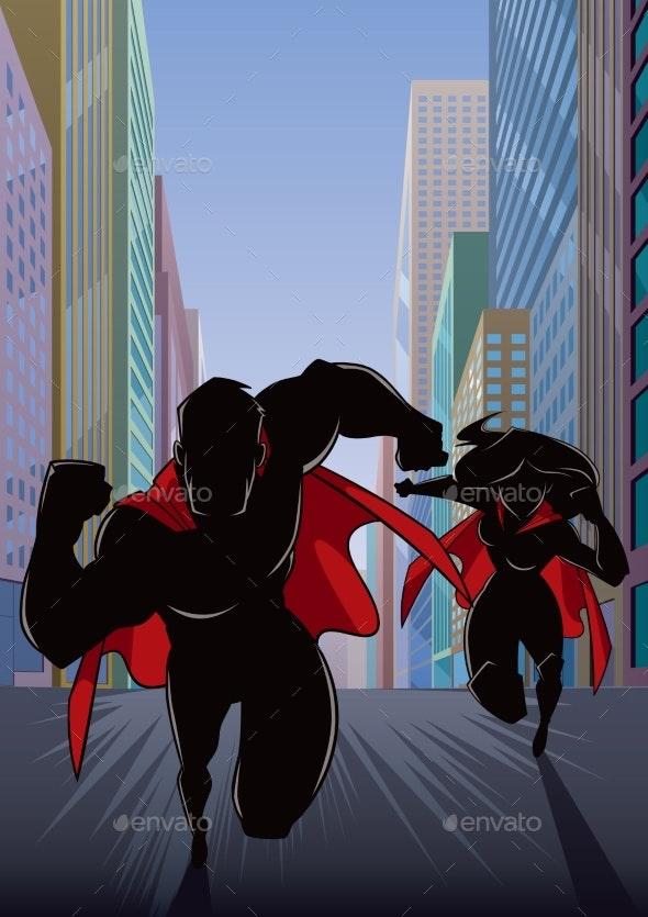 Superhero Couple Running Hero Leads Silhouette - People Characters