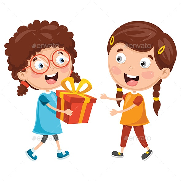 Vector Illustration of Kid Giving Gift to Friend - People Characters