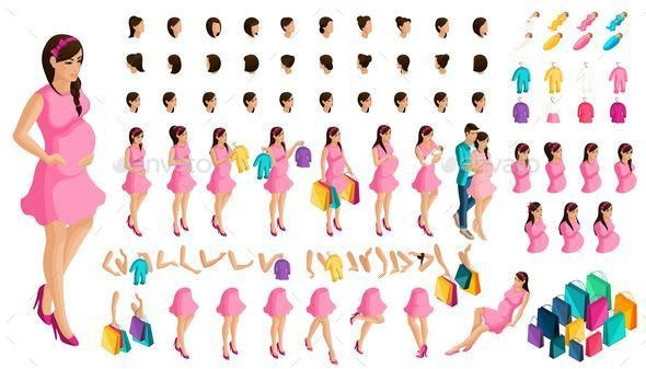 Isometrics Create Your a Pregnant Girl or Mother With Baby - People Characters