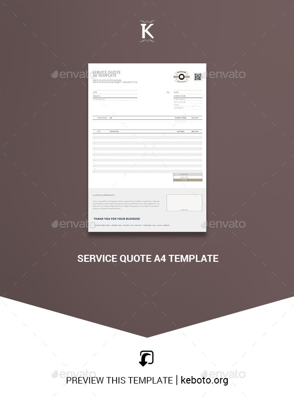 Service Quote A4 Template - Miscellaneous Print Templates