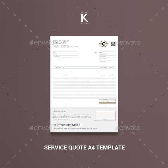 Service Quote A4 Template