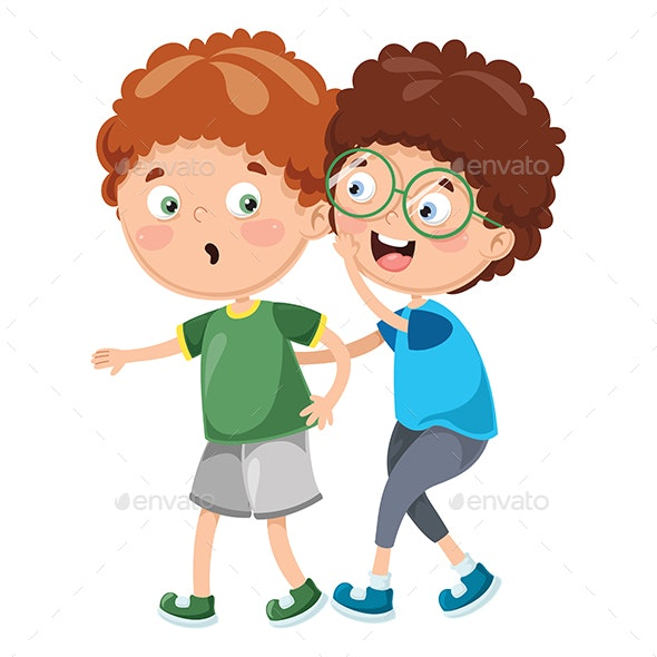 Vector Illustration of Kid Whispering - People Characters
