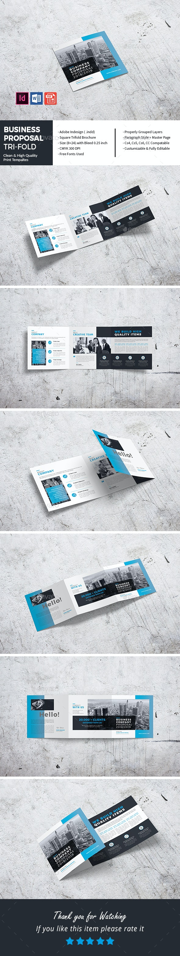 Square Business Company Proposal Tri-Fold - Corporate Brochures