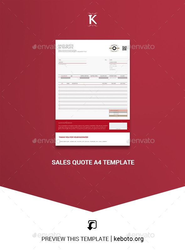 Sales Quote A4 Template - Miscellaneous Print Templates