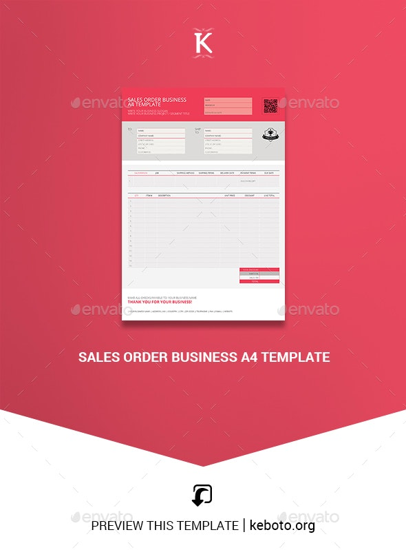 Sales Order Business A4 Template - Miscellaneous Print Templates