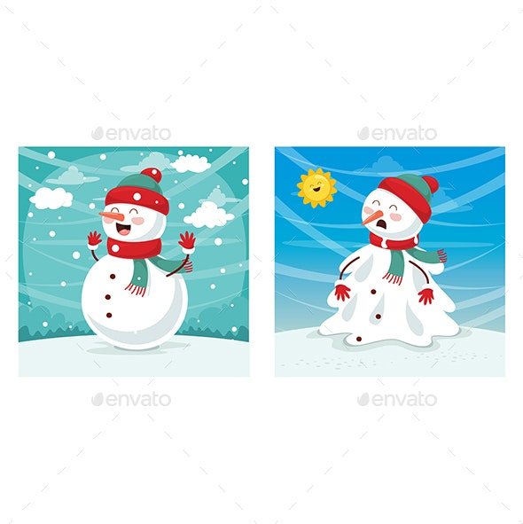 Vector Illustration of Snowman - Miscellaneous Characters