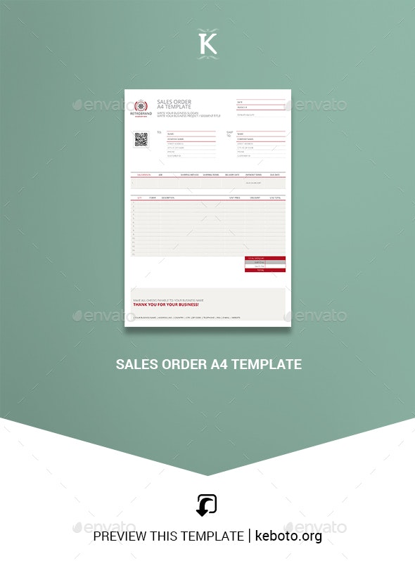 Sales Order A4 Template - Miscellaneous Print Templates